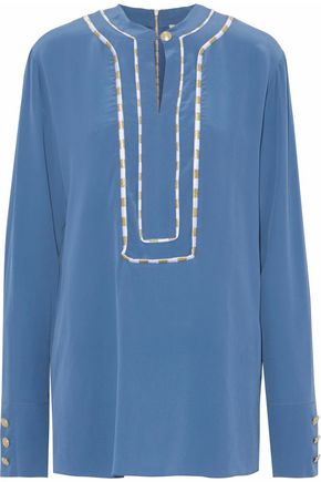 PIERRE BALMAIN Embroidered washed-silk shirt