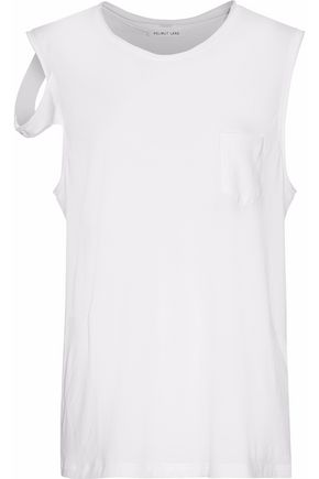HELMUT LANG Asymmetric draped cotton-jersey top