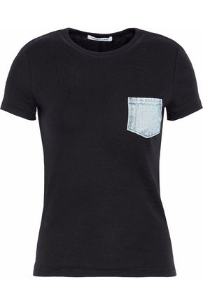 HELMUT LANG Denim-trimmed cotton-jersey T-shirt