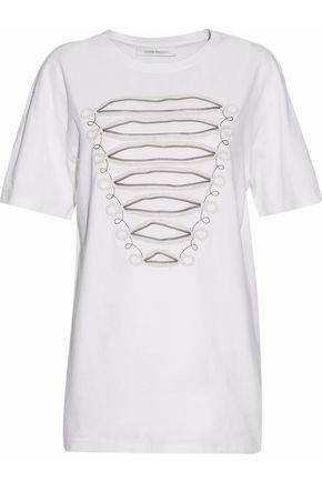 PIERRE BALMAIN Embellished cotton-jersey top