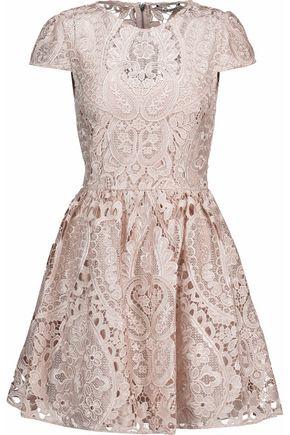 ALICE + OLIVIA Flared guipure lace mini dress