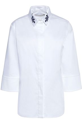 MARY KATRANTZOU Embroidered cotton-blend shirt