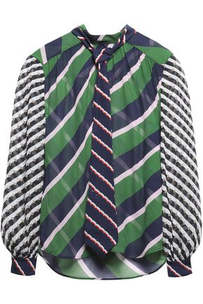 MARY KATRANTZOU Pleated striped silk-chiffon blouse