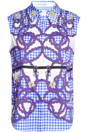 MARY KATRANTZOU Embellished printed cotton-blend poplin shirt