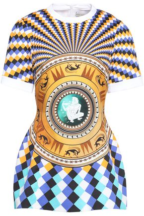MARY KATRANTZOU Flared printed cotton-blend dress