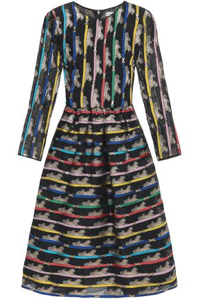 MARY KATRANTZOU Printed flared organza dress