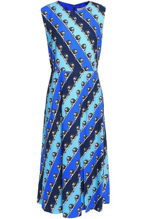 MARY KATRANTZOU Pleated printed crepe dress