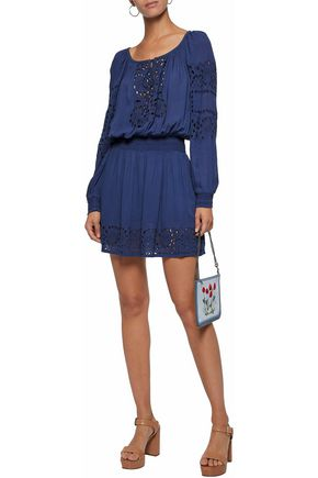 ALICE + OLIVIA Broderie anglaise-paneled gauze mini dress