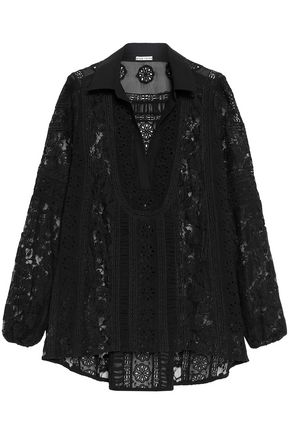 ALICE + OLIVIA Lace-paneled embroidered chiffon blouse