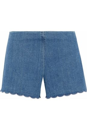 ALICE + OLIVIA Scalloped denim shorts