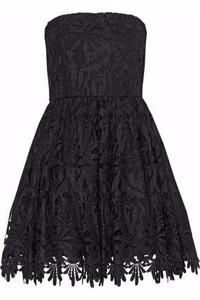 ALICE + OLIVIA Strapless guipure lace mini dress