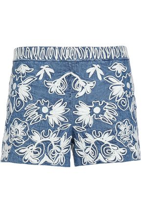 ALICE+OLIVIA Embroidered cotton shorts