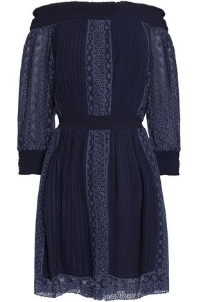 ALICE + OLIVIA Off-the-shoulder broderie anglaise-paneled striped pleated woven mini dress