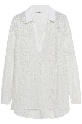 ALICE + OLIVIA Lace-paneled embroidered chiffon blouse
