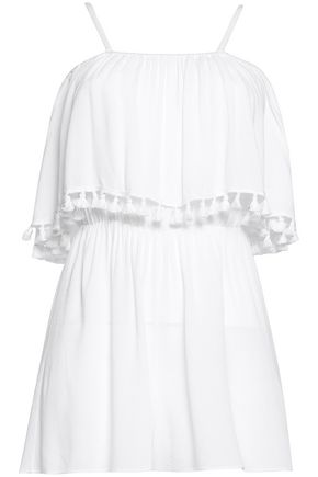 Alice+olivia Woman Cold-shoulder Tassel-trimmed Gauze Playsuit White Size 8 Alice & Olivia Buy Cheap 100% Authentic 100% Original Online Cheap Price Discount Authentic hQOWT