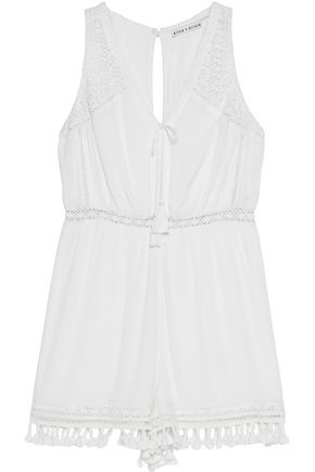 ALICE + OLIVIA Tassel-trimmed lace-paneled georgette playsuit