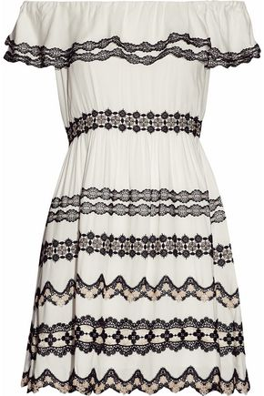 ALICE + OLIVIA Off-the-shoulder lace-appliquéd crepe mini dress