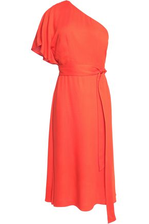 ALICE + OLIVIA One-shoulder belted crepe dress
