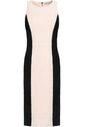 ALICE+OLIVIA Two-tone suede dress