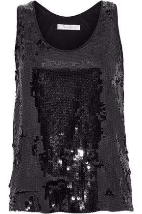 MAX MARA Mammola sequined silk crepe de chine blouse