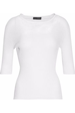 CALVIN KLEIN COLLECTION Ribbed cotton and silk-blend top