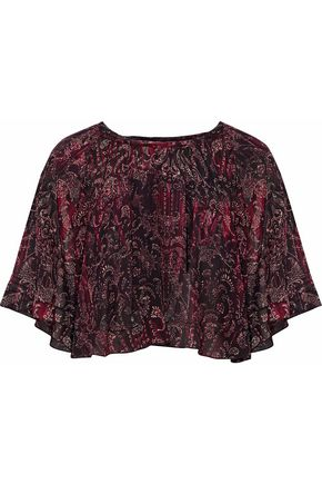 IRO Printed ruffled chiffon top