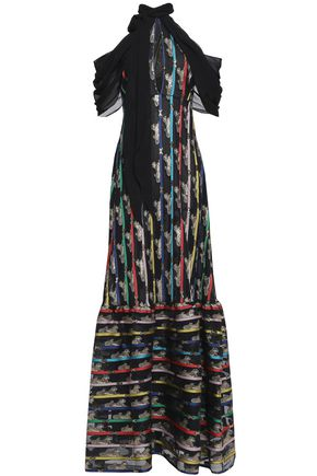 MARY KATRANTZOU Cold-shoulder printed lamé and chiffon gown