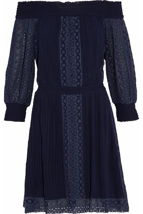 ALICE + OLIVIA Off-the-shoulder pleated embroidered crepe de chine dress