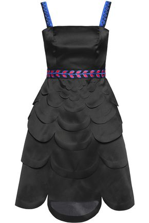 MARY KATRANTZOU Paneled embroidered silk-organza mini dress
