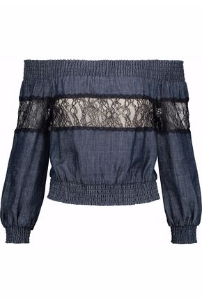 ALICE+OLIVIA Off-the-shoulder corded lace-paneled chambray top