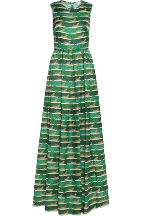 MARY KATRANTZOU Pleated printed silk-organza maxi dress