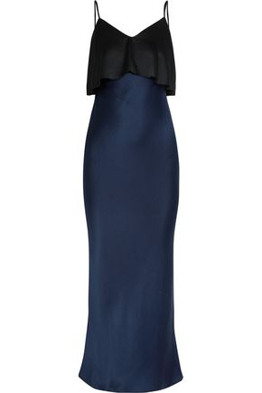 DIANE VON FURSTENBERG Two-tone hammered silk-satin midi dress
