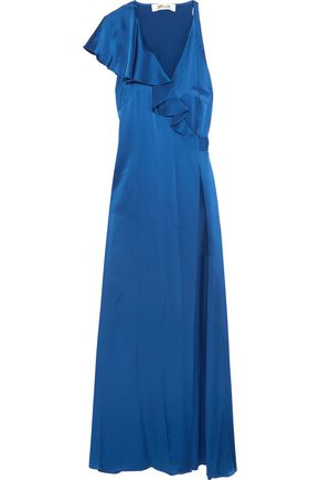 DIANE VON FURSTENBERG Ruffled satin wrap maxi dress