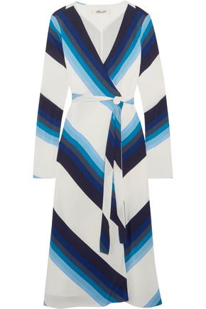 DIANE VON FURSTENBERG Striped silk crepe de chine wrap dress
