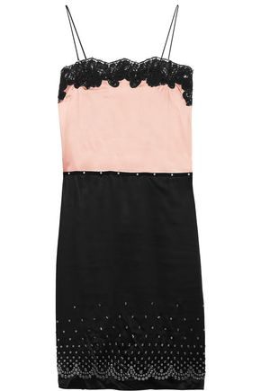 ALEXANDER WANG Lace-trimmed embellished satin dress
