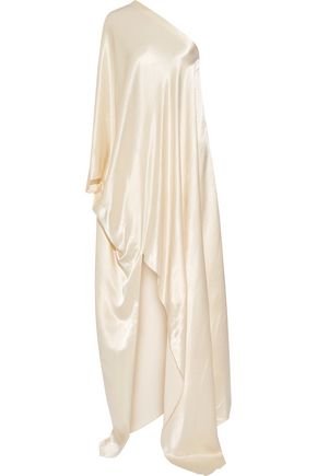 ROSETTA GETTY One-shoulder washed-satin gown