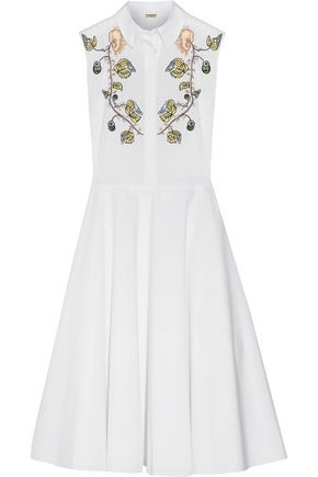 ADAM LIPPES Embroidered cotton-poplin midi dress