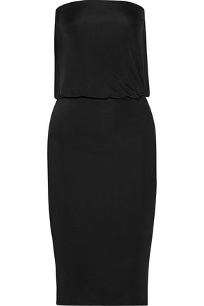 HANEY Lauren open-back leather-trimmed stretch-ponte dress