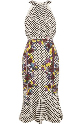 SALONI Ruby embellished printed silk midi dress