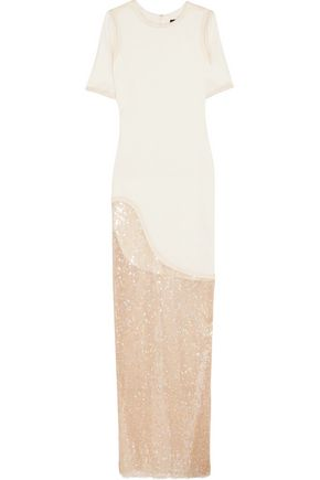 HANEY Amal jersey and sequined mesh maxi dress