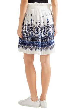 ... SACAI Twill-trimmed pleated printed voile shorts