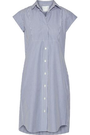 SACAI Pleated striped cotton-poplin shirt dress