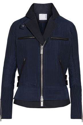 SACAI Hickory twill-trimmed striped cotton-canvas peplum jacket