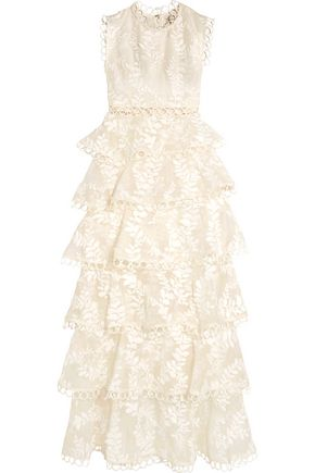 ZIMMERMANN Winsome lace-trimmed tieredembroidered silk maxi dress