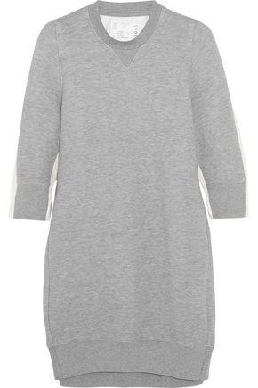 SACAI Poplin-paneled cotton-blend jersey mini dress