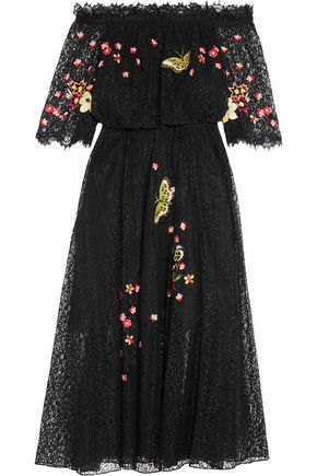 TEMPERLEY LONDON Leo off-the-shoulder embroidered lace midi dress
