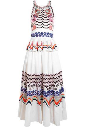 TEMPERLEY LONDON Spellbound embroidered cotton-poplin midi dress