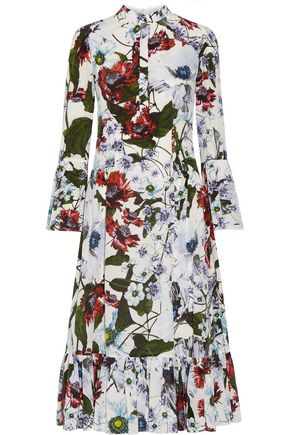 ERDEM Connie floral-printed silk crepe de chine dress