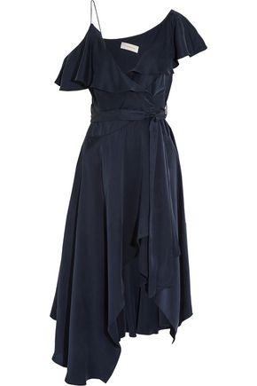 ZIMMERMANN One-shoulder ruffled silk wrap midi dress