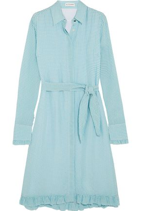ALTUZARRA Laguna ruffle-trimmed gingham crinkled-crepe dress
